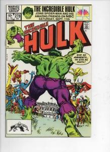 HULK #278, NM-, Incredible, Bruce Banner, Avengers, 1968 1982, Marvel