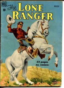 Lone Ranger #21 1950-Dell-Tonto Silver-early red shirt issue-famous cover-VG