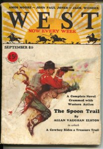 West 9/10/1928-Schlailjer gunfight cover-pulp fiction-John Paul Jones-Allan V...