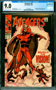 Avengers #57 CGC Graded 9.0 1st appearance of the Silver Age Vision. Black Wi...