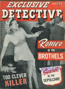 Exclusive Detective 9/1942-Timely-1st issue-gun moll-dice game-Yellow Peril-VG+