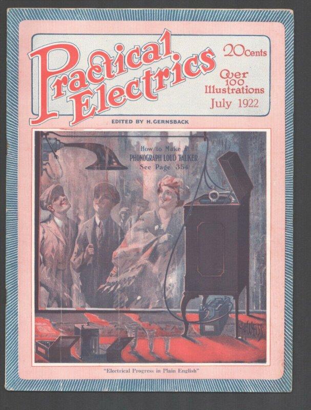 Practical Electrics #8 7/1922-Experimenter-Hugo Gernsback-H.A. Weiss cover ar...