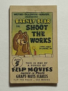 Grape Nuts Barney Bear Tom & Jerry Flip Movie Book #5 1949 Post Cereal Giveaway
