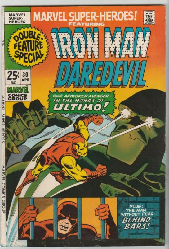 Marvel Super-Heroes #30 (Apr-71) VF High-Grade Daredevil, Iron Man
