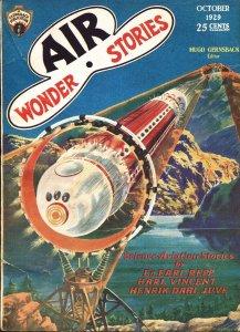 Air Wonder Stories 10/1929-Gernsback-Frank R Paul-sci-fi pulp thrills-vg
