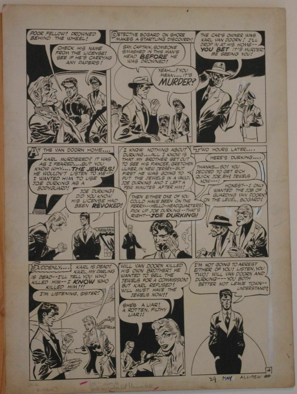 JOE KUBERT original art, ALL NEW COMICS #12 pg 4, 15x 20,1946, Bombs of Diamonds