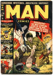 MAN #10-1951-JOE MANEELY VIOLENT KNIFE IN NECK COVER-ALLEN BELLMAN-JERRY ROBINSO