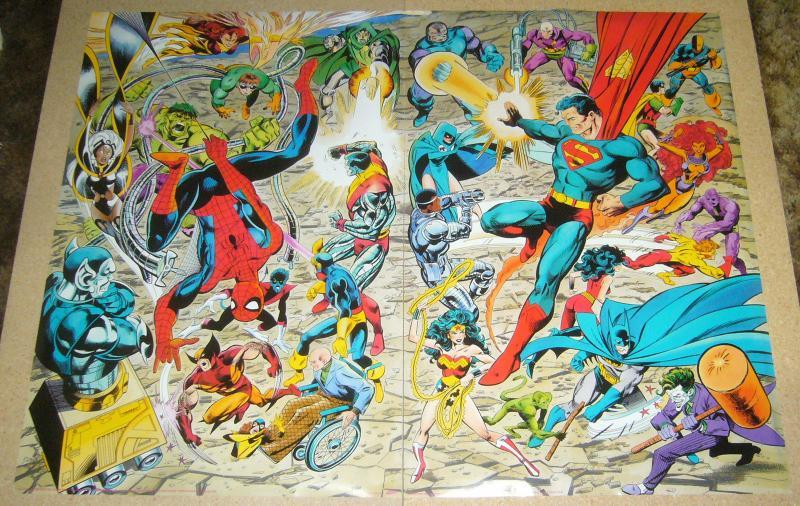 Marvel/DC connecting poster set by john byrne - x-men justice league spider-man