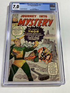 Journey Into Mystery 92 Cgc 7.0 Ow/w Pages Marvel Silver Age Thor