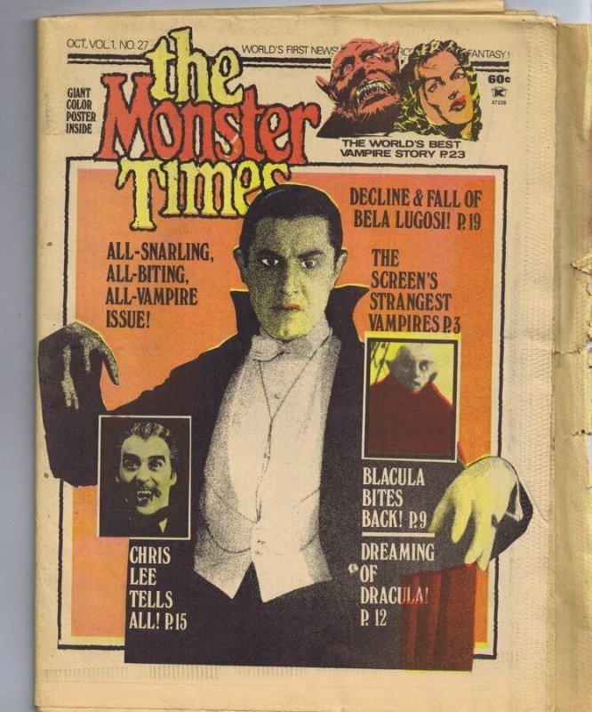 ORIGINAL Vintage 1973 The Monster Times Horror Newspaper Magazine #27 Vampires