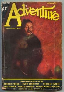 Adventure Pulp January 1 1933- Hugh Pendexter VG