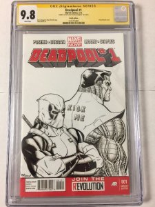 Deadpool 1 Blank Cover Sketch Ed Mcguinness Cgc 9.8 Kick Me Signature Series