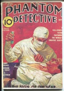 Phantom Detective 9/1936-Hanos-pulp reprint-Sign of The Scar-VF