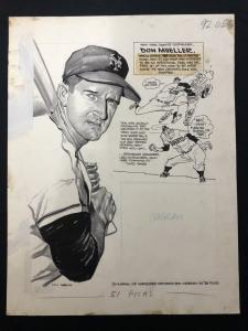 Lou Darvas Sporting News Original Art -NY GIANTS-DON MUELLER 1955