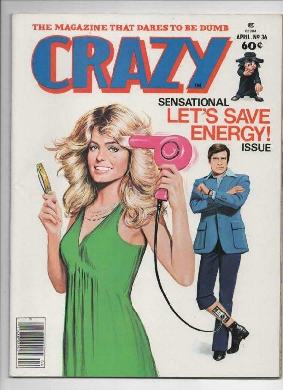 CRAZY #36 Magazine, VF, Farrah Fawcett, Lee Majors, 1973 1978, more in store
