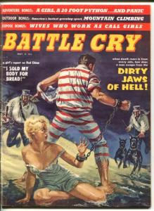BATTLE CRY- MAY 1960-STANLEY PUBS-SPICY HOT BLONDE-HANDCUFFS-SHEESECAKE-vg