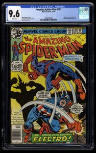 Amazing Spider-Man #187 CGC NM+ 9.6 White Pages Captain America!
