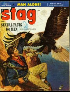 Stag Pulp Magazine June 1954-  Eagle attack cover- Hunting- Sex G