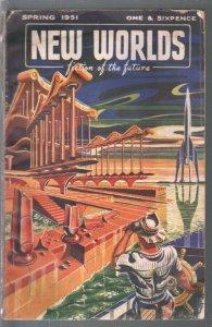 New Worlds Spring 1951-Nova-rocket cover-published in U.K.-VG-