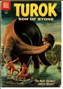 Turok Son Of Stone #13 1958-Dell-pre-historic Indians-dinosaur-VG-