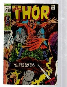 Mighty Thor # 163 FN Marvel Comic Book Loki Odin Asgard Sif Avengers Hulk RB8