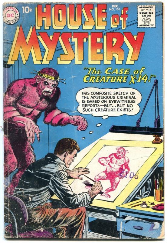 HOUSE OF MYSTERY #105 HORROR SCI-FI DISASTE    1960 DC G