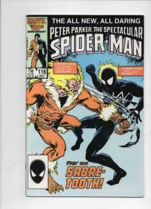 Peter Parker SPECTACULAR SPIDER-MAN #116 NM, Sabre-Tooth 1976 1986 more in store