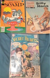 3 COMICBOOKS-SILLY HANS/SCAMP/SECRET HEARTS-#538/#37/#97-GREAT FOR COLLECTIORS