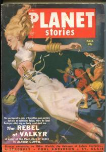 Planet Stories-Fall 1950-Fiction House-Sci-fi pulp- Bradbury-Poul Anderson-VG+