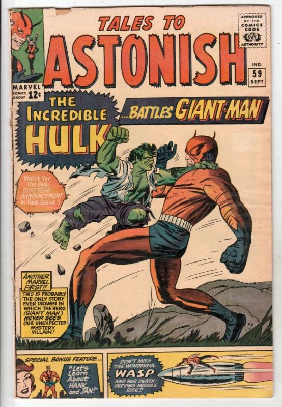 Tales to Astonish #59 (Sep-64) VG/FN Mid-Grade Giant Man, Wasp
