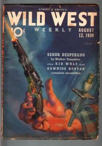 WILD WEST WEEKLY 8/12/1939-WESTERN PULP-KID WOLF VG-