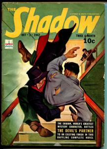 The Shadow 10/1/1942-gunfight cover-top pulp action-Devil's Partner-VG/FN