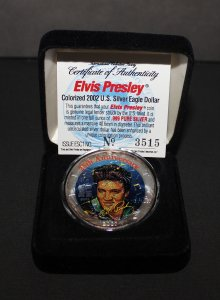 2002 25th Anniversary Elvis Presley Colorized US Silver Eagle