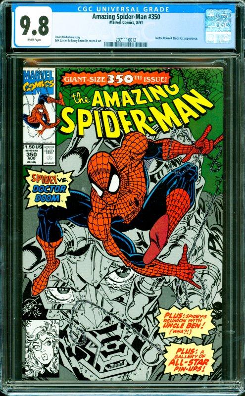 Amazing Spider-Man #350 CGC Graded 9.8 Doctor Doom & Black Fox appearance.