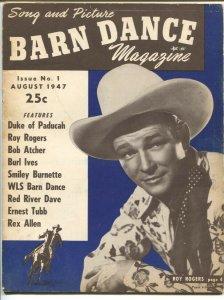 Barn Dance Magazine  8/1947-1st issue-Roy Rogers-Smiley Burnette-Burl Ives-pi...