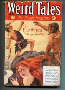 Weird Tales 4/1932-caveman cover-HP Lovecraft-Pulp Magazine