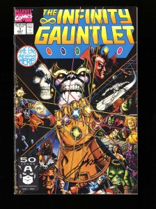 Infinity Gauntlet #1 VF/NM 9.0 Signed by George Perez
