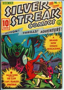 SILVER STREAK COMICS #1 REPRINT #1970'S-DYNA PUBS-CAPT FEARLESS-THE CLAW-vf
