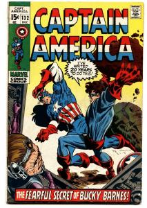 Captain America #132 comic book 1970- Modok- Bucky Barnes- Marvel FN+