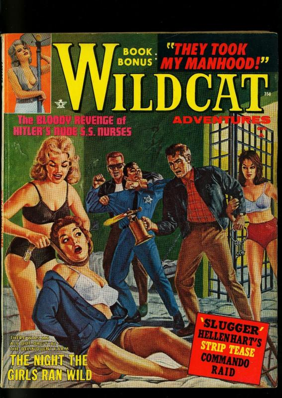 Wildcat Adventures Pulp October 1962- Spicy Prison Break cover- SS Nurses -VG-