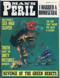 Man's Peril Magazine September 1966-CHEESECAKE-WAR-GREEN BERET VF