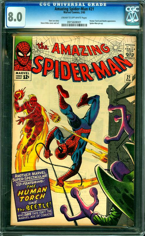 Amazing Spider-Man #21 CGC Graded 8.0 Human Torch & Beetle App.