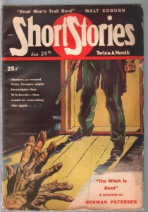 Shirt Stories 1/25/1949-Fred Humiston crime cover-pulp myster-ymurder-VG+