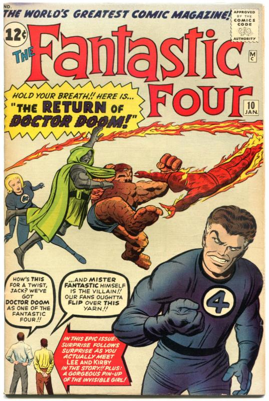 FANTASTIC FOUR #10, VF-, Doctor Doom, Jack Kirby, 1961, more FF in store, QXT