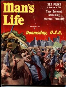 MANS LIFE NOV 1954-Doomsday-A-bombs-radiation-Pulp Mag