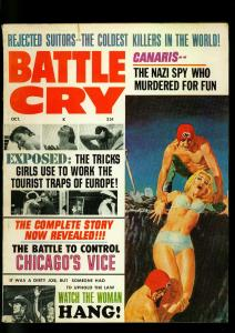 Battle Cry Pulp Magazine October 1966- Nazi Buried Alive cover- Chicago Vice VG