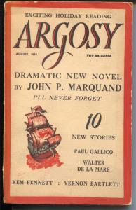 Argosy 8/1956-British edition-Larquand-Bradbury-Gallico-pulp thrills-FN-