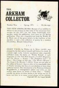 ARKHAM COLLECTOR #9 1971-W. DE LA MARE/VIRGIL FINLAY VG