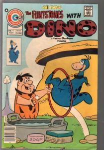 Flintstones With Dino #13 1975-Charlton-dinosaur cover-Hanna-Barbera-G