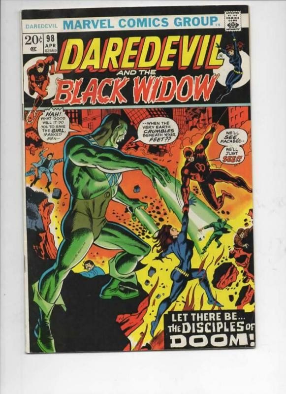 DAREDEVIL #98 VG+ Gene Colan, Murdock, Black Widow, 1964 1973, Marvel